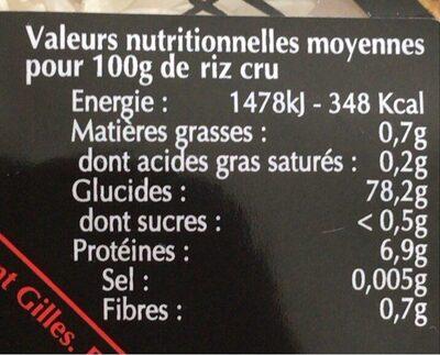Riz de camargue long blanc - Nutrition facts - fr