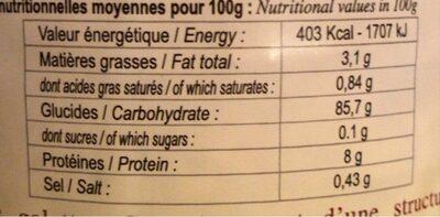 Galettes de riz complet - Nutrition facts - fr
