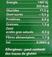 Riz Méditerranée de Camargue - Nutrition facts - fr
