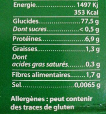 Riz Méditerranée de Camargue - Nutrition facts