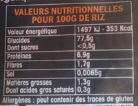 Riz de Camargue long incollable - Nutrition facts - fr