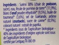Bâtonnets de surimi (6 sachets de 3 bâtonnets) - Ingrédients - fr