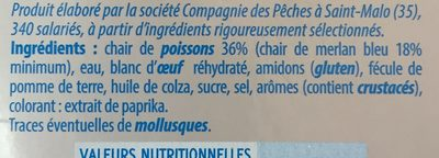 Le Surimi saveur crabe (30 bâtonnets) - 500 g - Ingrediënten