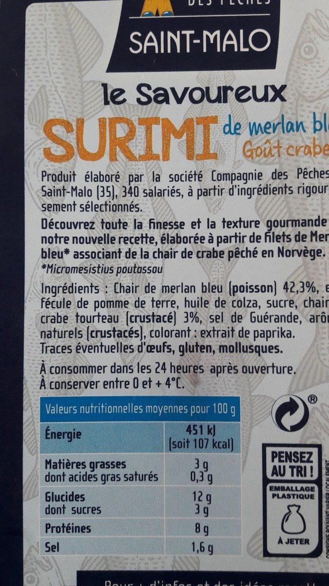 Le savoureux surimi - Ingrédients - fr