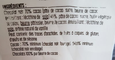 Ganache Chocolat noir fondante 70% - Ingrédients - fr