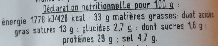 Forezienne - Nutrition facts - fr
