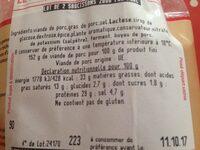 Saussisson - Ingrédients - fr