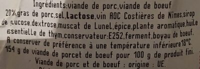 Saucisson d'Arles - Ingredients - fr