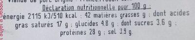 Figatellu fumé - Informations nutritionnelles - fr