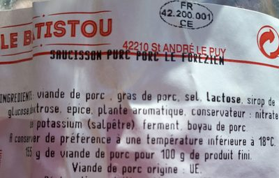 Saucisson - Ingredients - fr