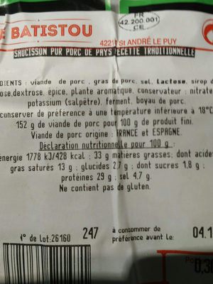 Le batistou saucisson de pays traditionnel - Nutrition facts - fr