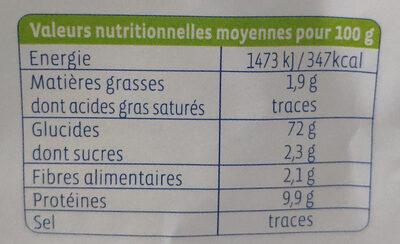 Farine blé T65 bio - Informations nutritionnelles - fr