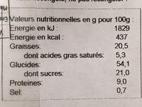 Beignets fourrés chocolat noisette - Voedingswaarden