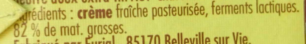 Beurre moulé doux Charentes-Poitou AOP (82 % MG) - Ingrediënten