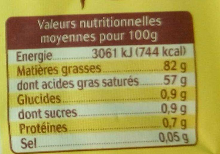 Beurre moulé doux Charentes-Poitou AOP (82 % MG) - Voedingswaarden