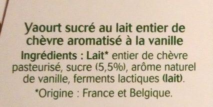 Yaourt au lait de chèvre - Vanille naturelle - Ingrédients - fr