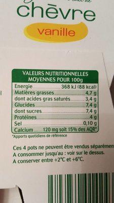 Yaourt au lait de chèvre vanille - Informations nutritionnelles