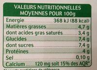Yaourt au lait de chèvre - Vanille naturelle - Informations nutritionnelles - fr