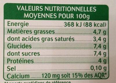 Yaourt au lait de chèvre - Vanille naturelle - Informations nutritionnelles