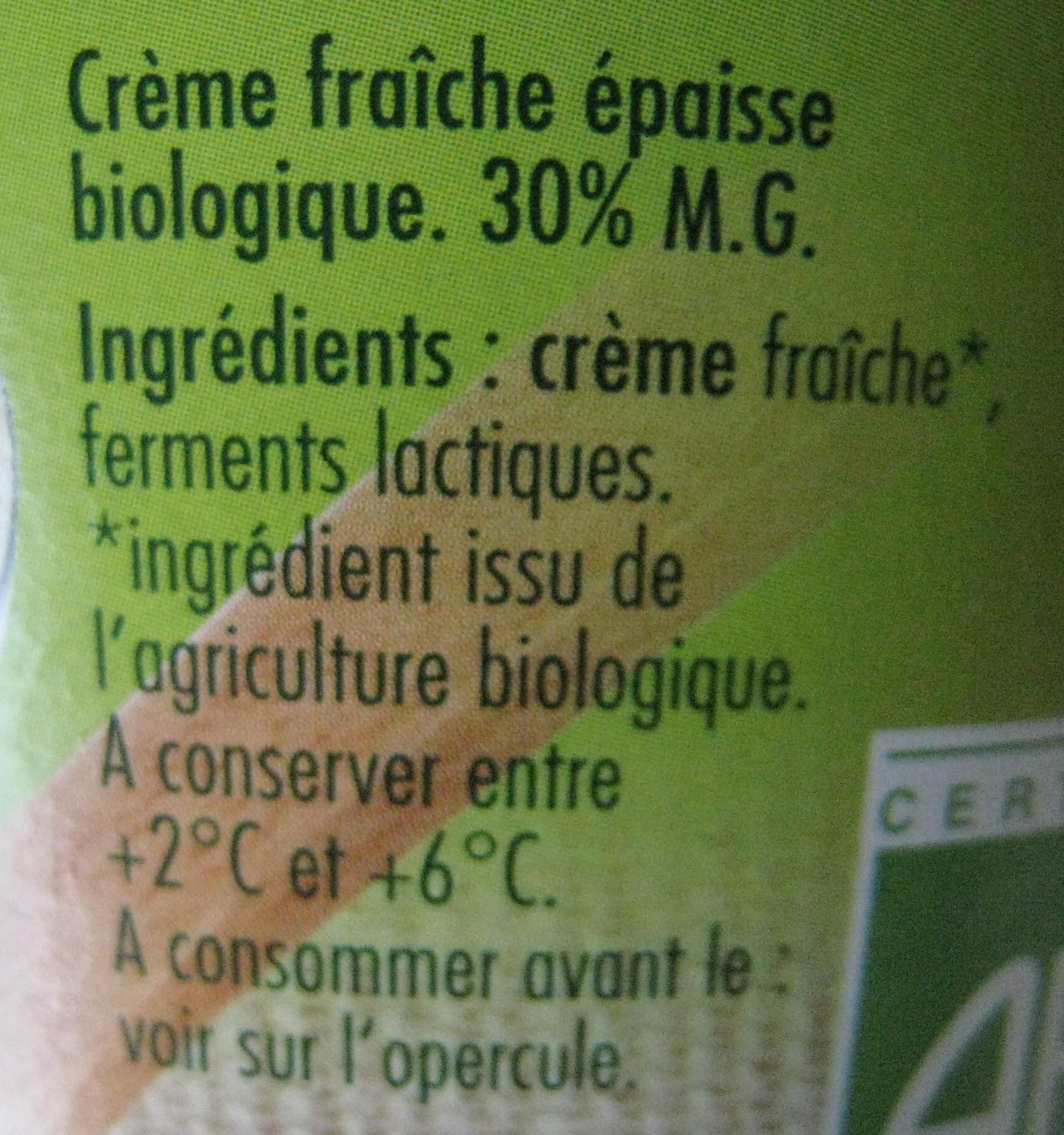 Crème fraîche épaisse 40 cl 30% de mat. gr. Bio nat' - Ingredients - fr