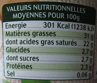 Crème fraîche épaisse 40 cl 30% de mat. gr. Bio nat' - Nutrition facts - fr