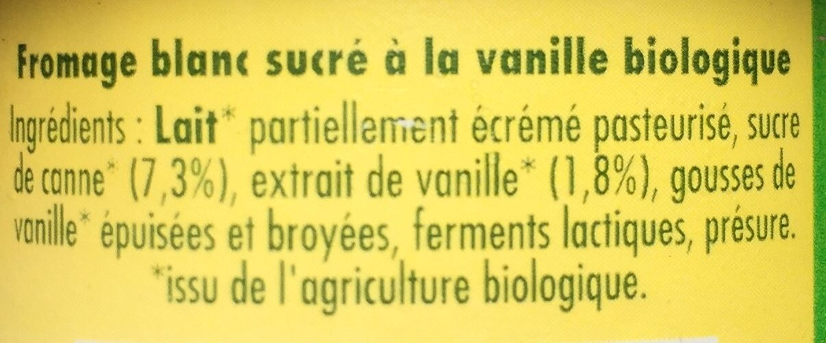 Fromage blanc biologique extrait naturel de vanille - Ingredients - fr