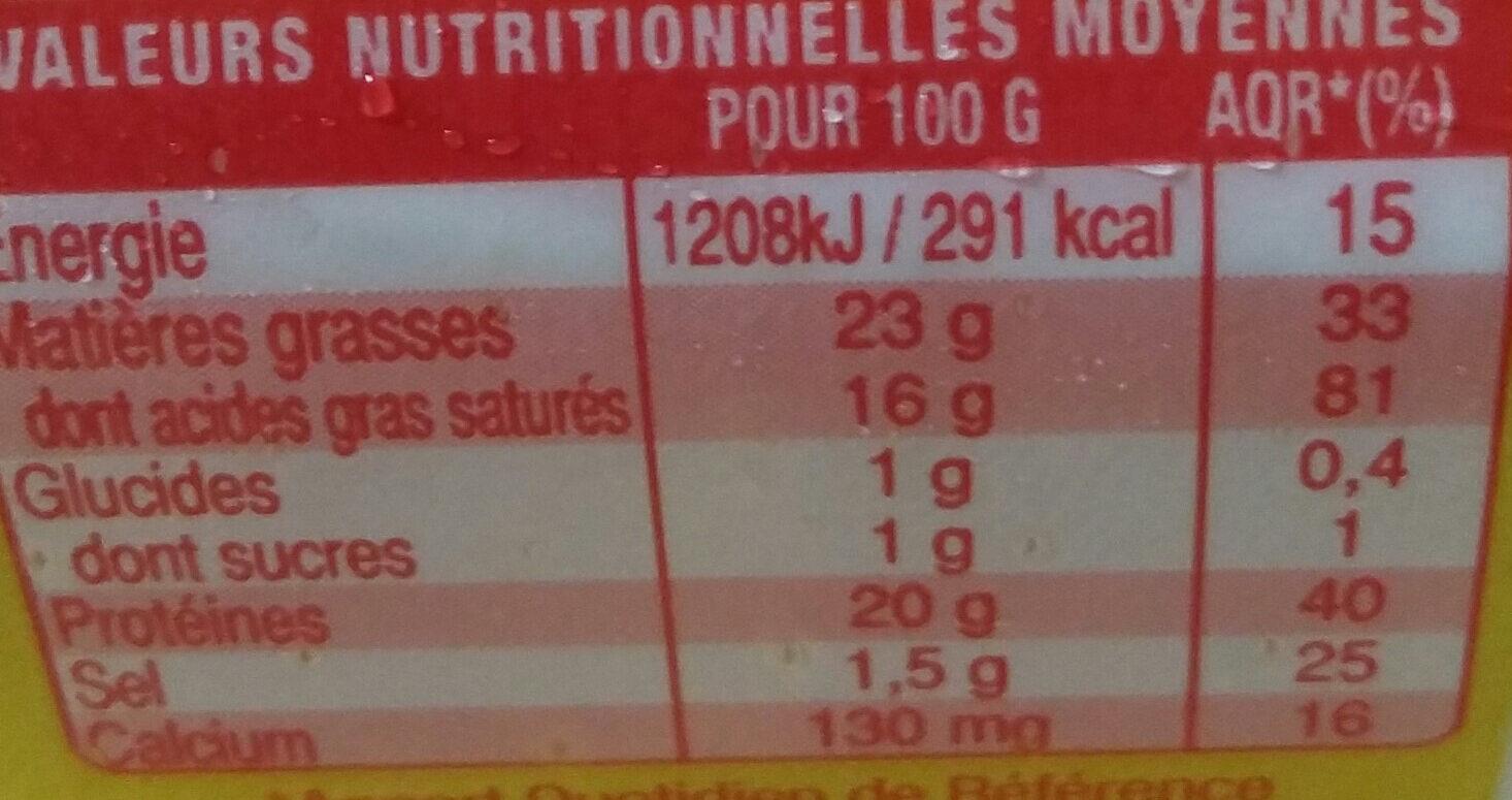 Sainte Maure - Voedingswaarden - fr
