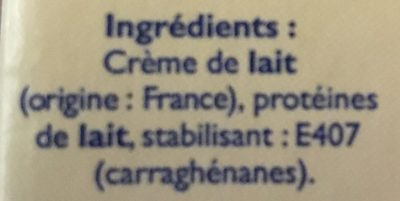 CREME UHT 30% - Ingredienti - fr