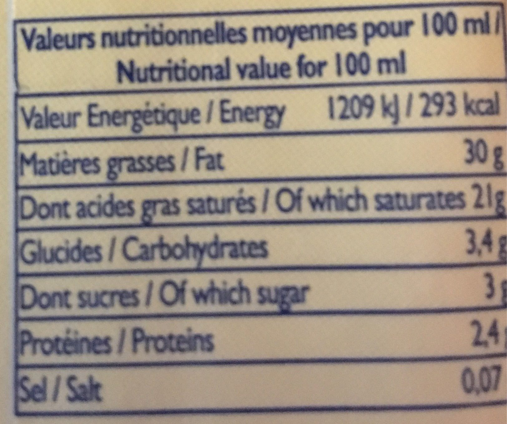 CREME UHT 30% - Informazioni nutrizionali - fr