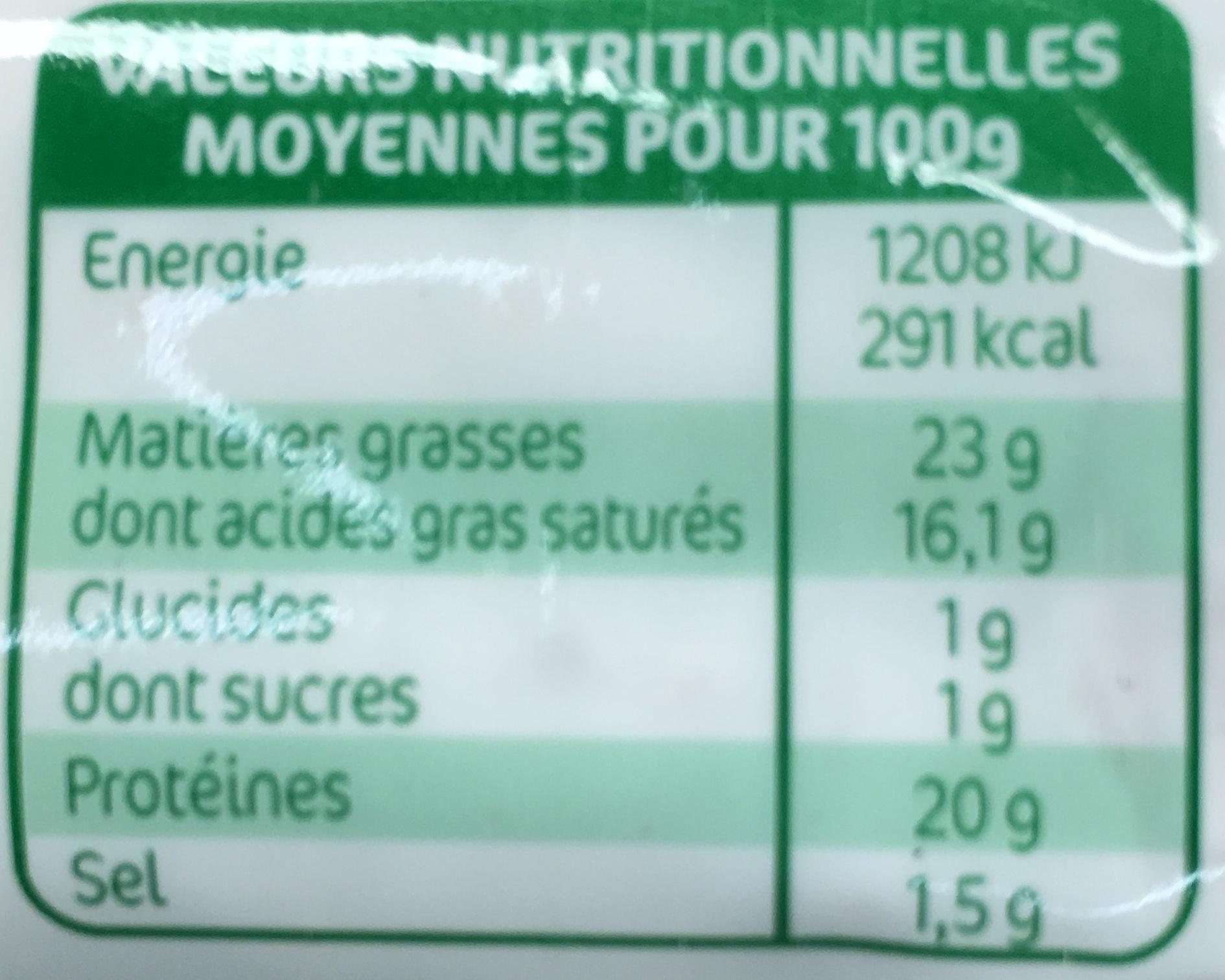 La bûche bio - Informations nutritionnelles - fr