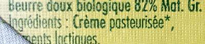 Beurre moulé biologique doux - Ingrediënten