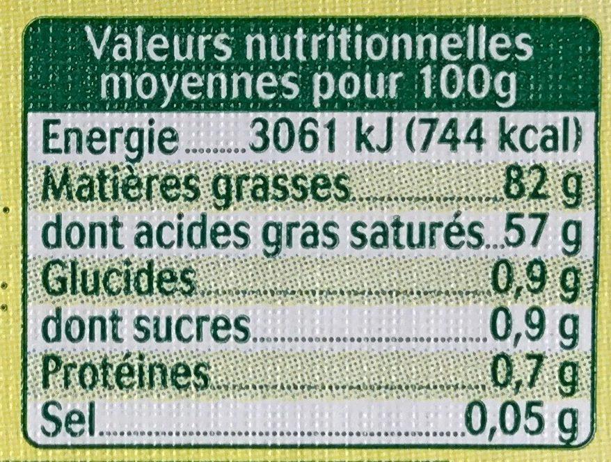 Beurre moulé biologique doux - Voedingswaarden