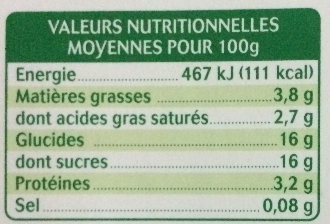 Yaourt au lait de chèvre sur Lit de chataigne - Informations nutritionnelles - fr