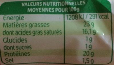 Bûche de chèvre Maxi format - Informations nutritionnelles - fr