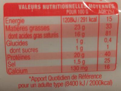 La Bûche maxi format - Informations nutritionnelles - fr