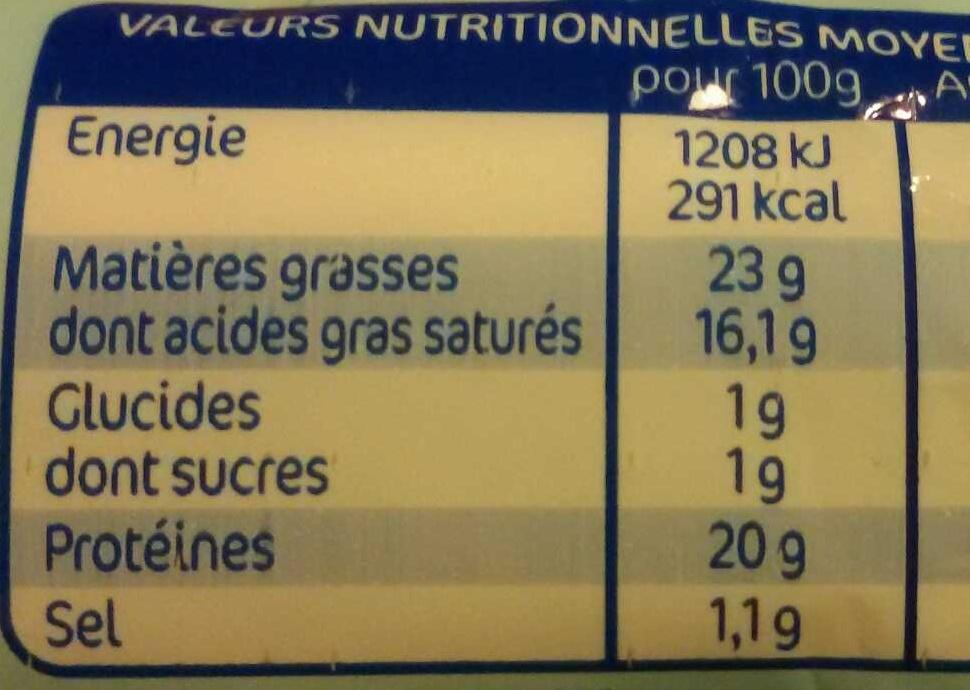 La bûche réduite en sel réduit de -25% - Voedingswaarden