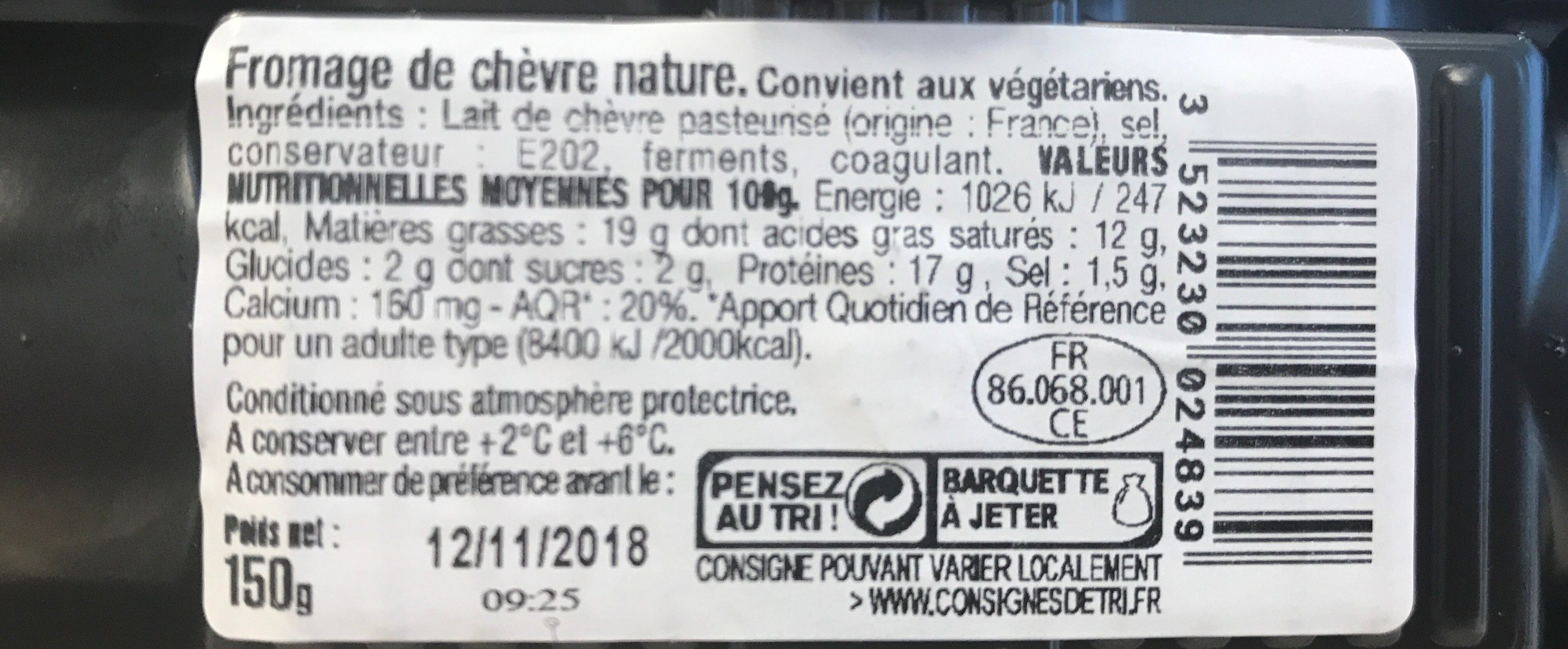 La Bûche de Chèvre Nature - Nutrition facts - fr