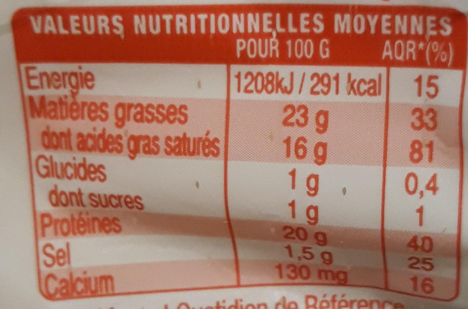 Sainte Maure - Informations nutritionnelles - fr
