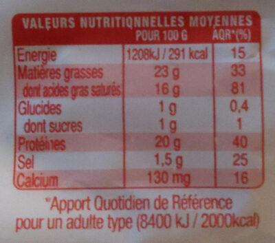 Bûche de chèvre Format familial - Informació nutricional - fr