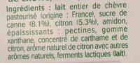 Brassé au lait de chèvre citron - Ingrédients - fr