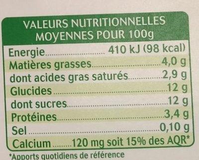Brassé au lait de chèvre citron - Informations nutritionnelles - fr