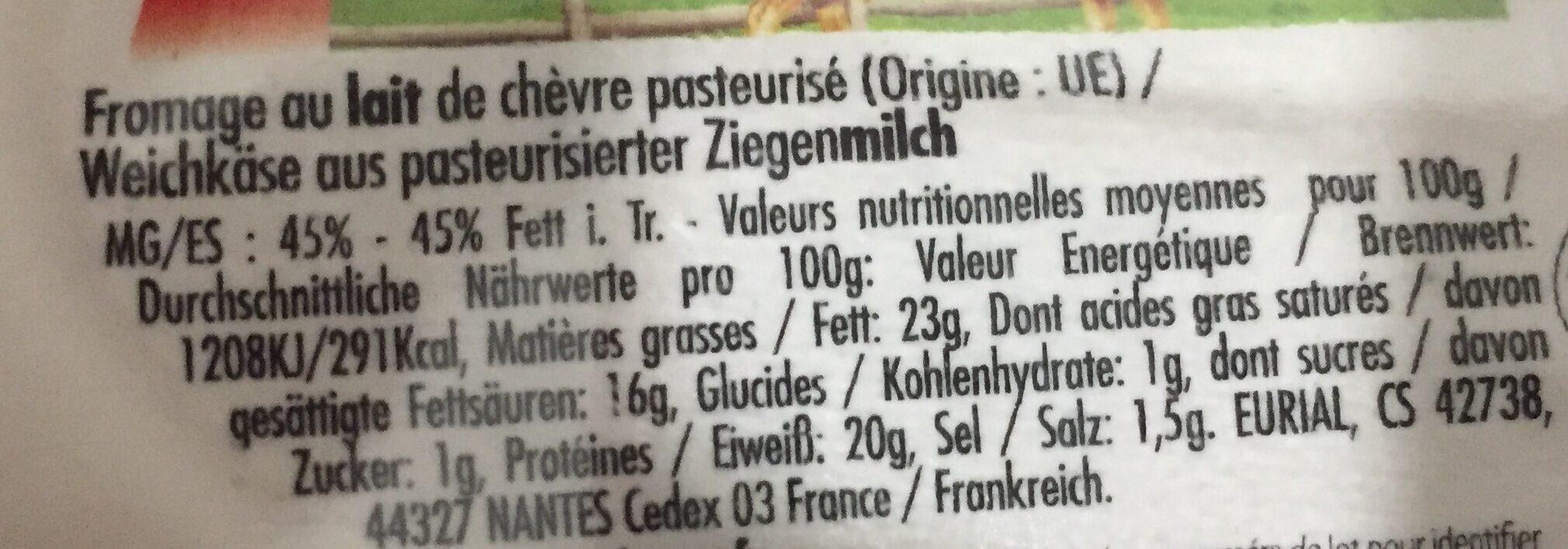 Buche de chèvre affinée - Ingrediënten - fr
