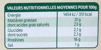La Brique de Chèvre - Nutrition facts
