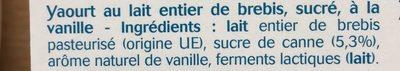 Yaourt au lait de brebis vanille - Ingrediënten - fr