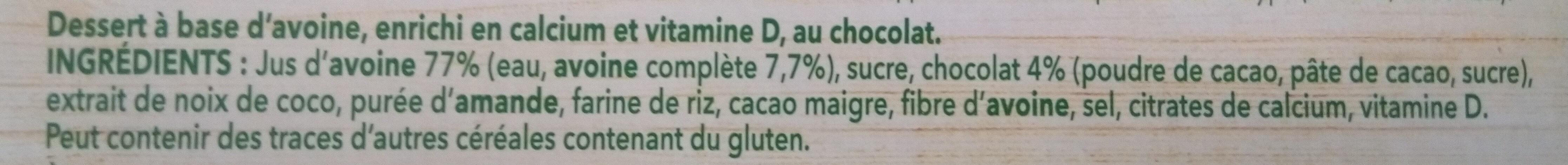 Dessert végétal chocolat à l'avoine - Ingrediënten - fr