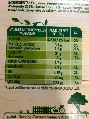 A Bicyclette - Chocolat - Nutrition facts - fr