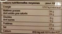 La meule de chèvre - Informations nutritionnelles - fr