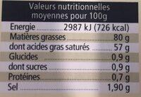 Beurre demi-sel Charentes-Poitou AOP - Informations nutritionnelles - fr