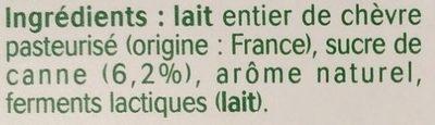 Yaourt au lait de chèvre saveur coco - Ingredients - fr