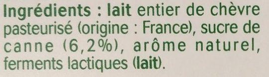 Yaourt au lait de chèvre saveur coco - Ingredients
